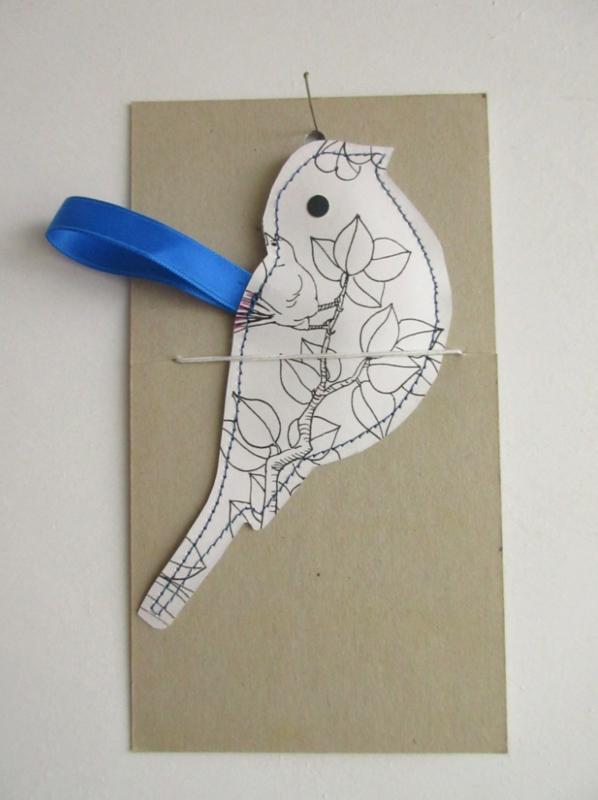 Keep vogel van papier - handgemaakt - 14cm z/w