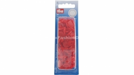 Plastic snaps / press stud, red, color snaps (Prym)