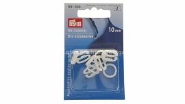 BH schuifjes/ringen, 10 mm, wit