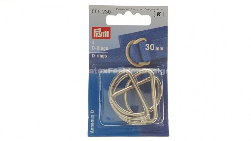 D-ringen, 30 mm, zilver (Prym)