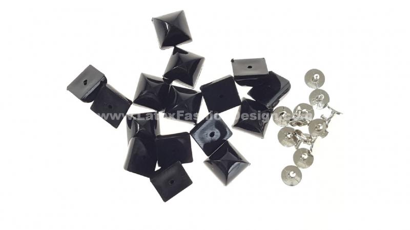 Studs met pinnetje, plastic, zwart