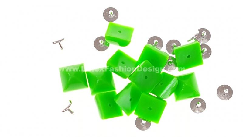 Studs met pinnetje, plastic, neon groen