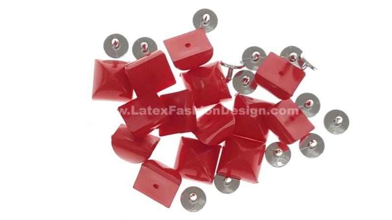 Studs met pinnetje, plastic, rood
