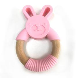 Bijtring konijn met houten ring - pioen roze