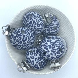Speenclip siliconen - luipaard print grijs