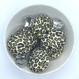 Speenclip siliconen - luipaard print beige