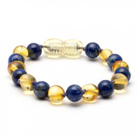 Barnsteen kinder armbandje baroque - citroen barnsteen en lapis lazuli