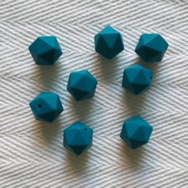 Icosahedron 17mm - donkercyaan