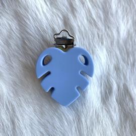 Speenclip siliconen monstera blad - licht poederblauw