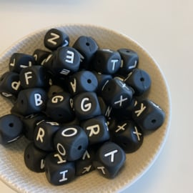 Letterbeads -  silicone 12mm (BLACK)