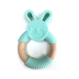 Bijtring konijn met houten ring - mint