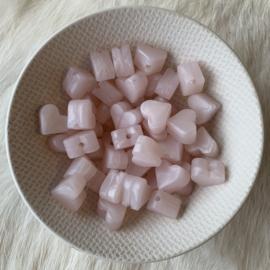 Klein hartje - parelmoer roze