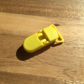 Pacifier clip plastic 20mm - yellow