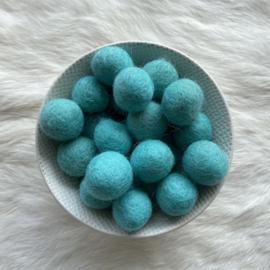 Vilten balletjes - turquoise