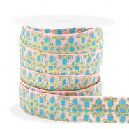 Ibiza lint - flower pink/turquoise gold 25mm breed