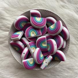 Rainbow bead round - fuchsia/cream yellow