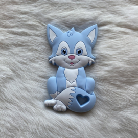 Fox sitting teether - soft blue
