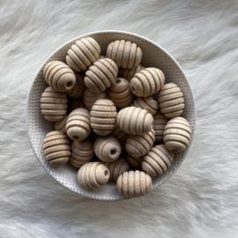 Houten kraal - olijf 21mm met ribbels
