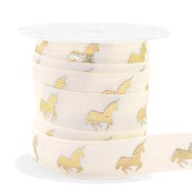 Ibiza lint - unicorn silk white/gold 25mm breed