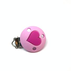 Speenclip siliconen - hart baby roze met fuchsia