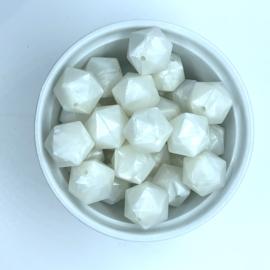 Icosahedron 17mm  - parelmoer wit