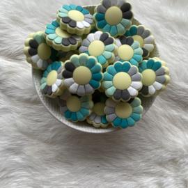 Flower power kraal - mint/turquoise tinten