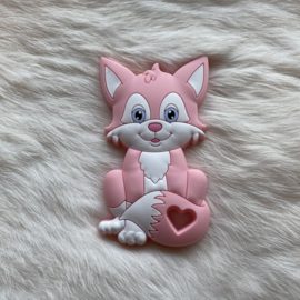 Fox sitting teether - light pink