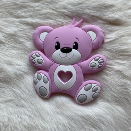 Bear teether -  baby pink