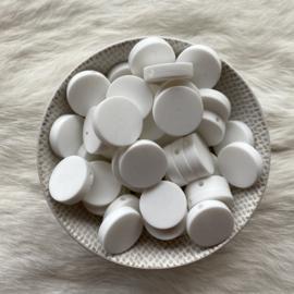 Platte ronde kraal 20mm - wit