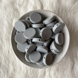 Platte ronde kraal 20mm - licht grijs