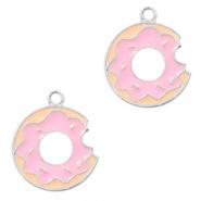 Hanger armband - donut zilver