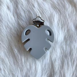 Speenclip siliconen monstera blad - licht grijs