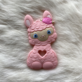 Happy llama bijtfiguur - licht roze