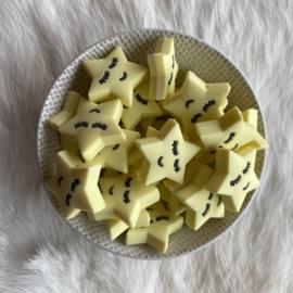 Slapend sterretje kraal - creme geel