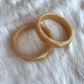 Armband siliconen - parelmoer goud