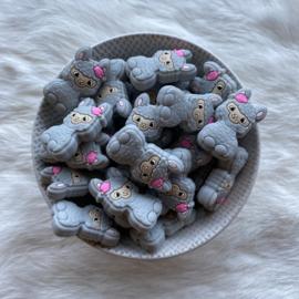 Happy llama bead - light grey