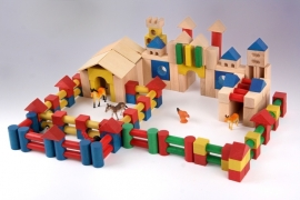 colored wooden blocks set (250 stk)