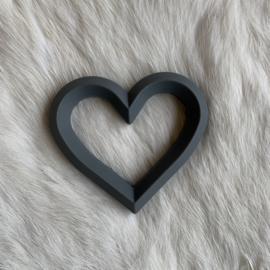 Hart met 2 gaten - donkerder grijs