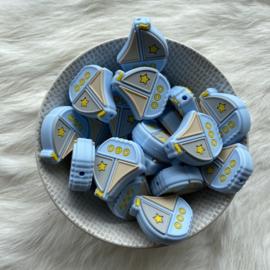 Boat bead - soft blue