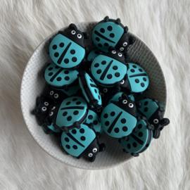 Lieveheersbeestje kraal - turquoise
