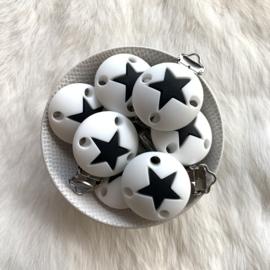 Speenclip siliconen - ster wit met zwart