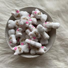 Happy llama bead - white