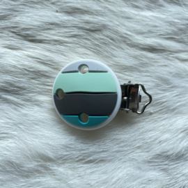Pacifier clip silicone - rainbow mint/turquoise