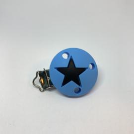 Speenclip siliconen - ster hemelsblauw met zwart