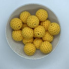 Gehaakte kraal 20mm - zon geel