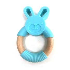 Bijtring konijn met houten ring - turquoise