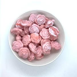 Kleine bloem - marmer koraal/baby roze