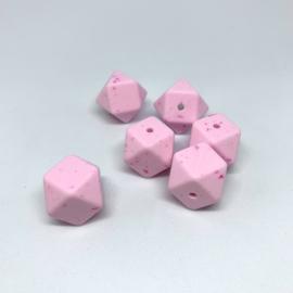 Hexagon - zacht roze, fuchsia gespikkeld