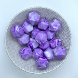 Icosahedron 17mm - marble dark purple