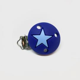 Speenclip siliconen - ster licht navy met hemels blauw